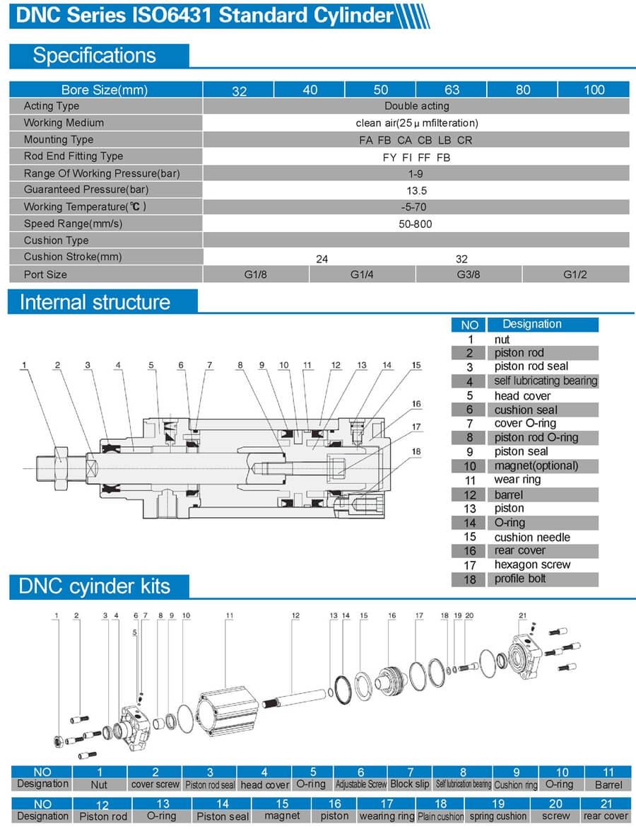 DNC ISO 6431 standard air cylinder 2