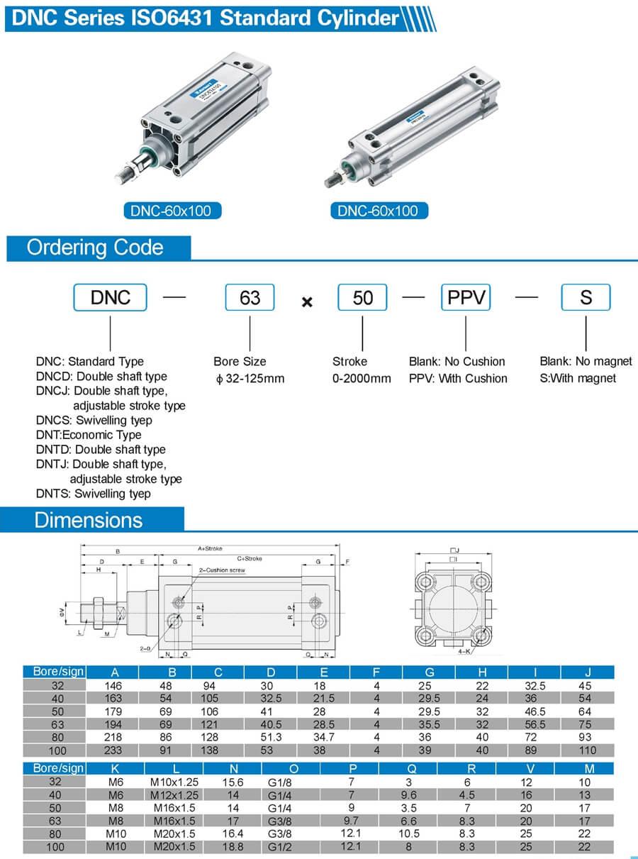 DNC ISO 6431 standard air cylinder