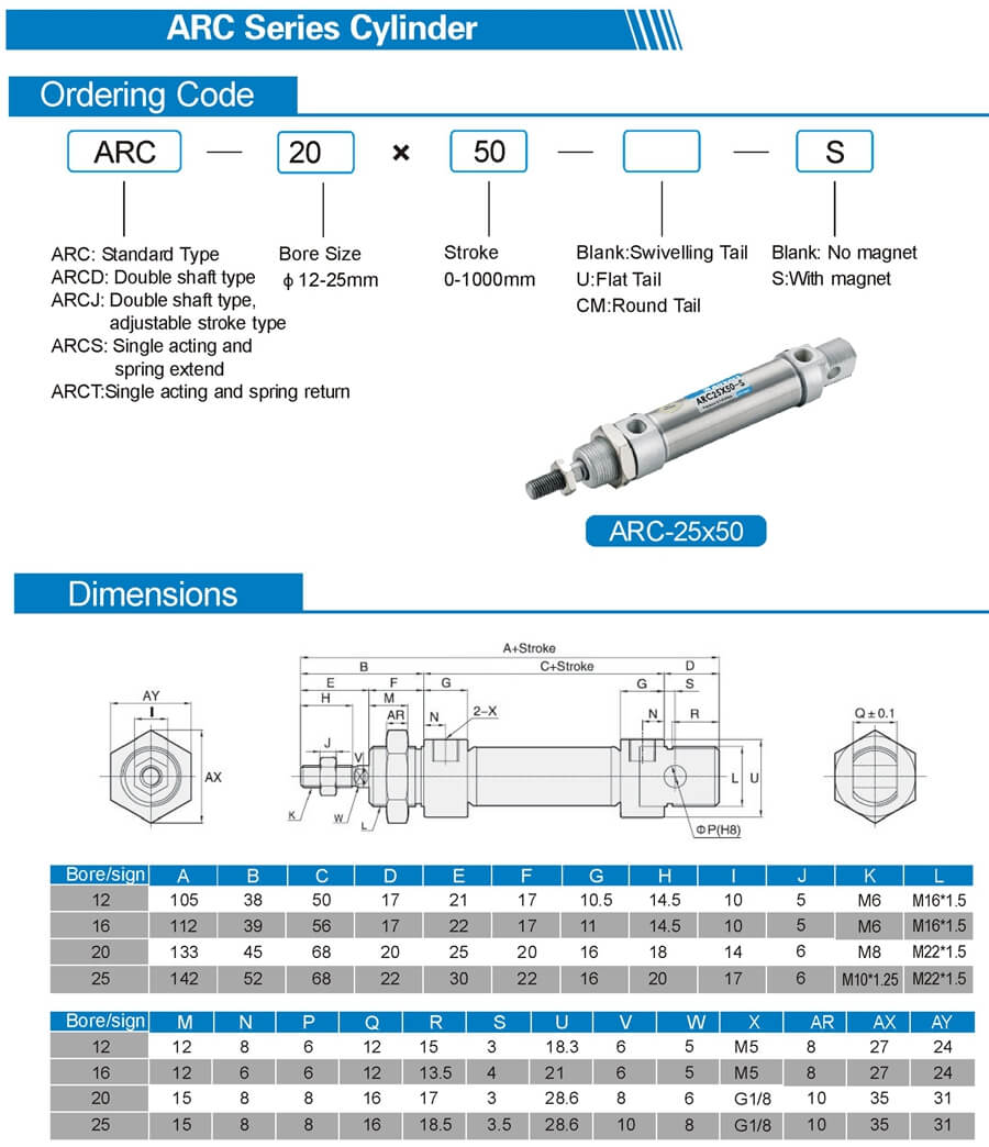 MA ISO6432 mini pneumatic cylinder