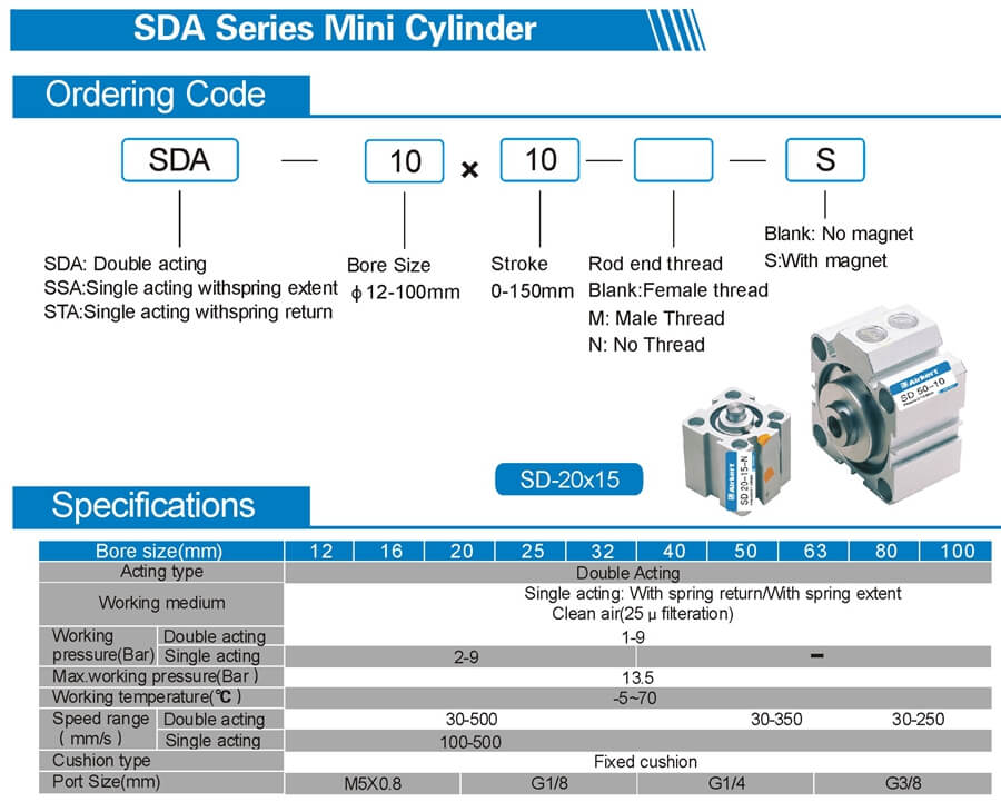 SDA compact air cylinder