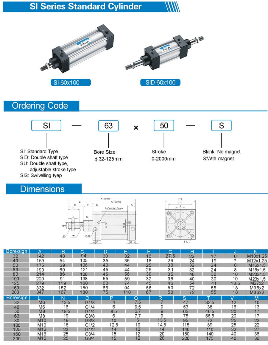 SI Series ISO 6431 standard air cylinder